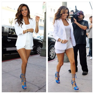 shoes eva longoria blue lace up heels jacket shorts colorful all white everything