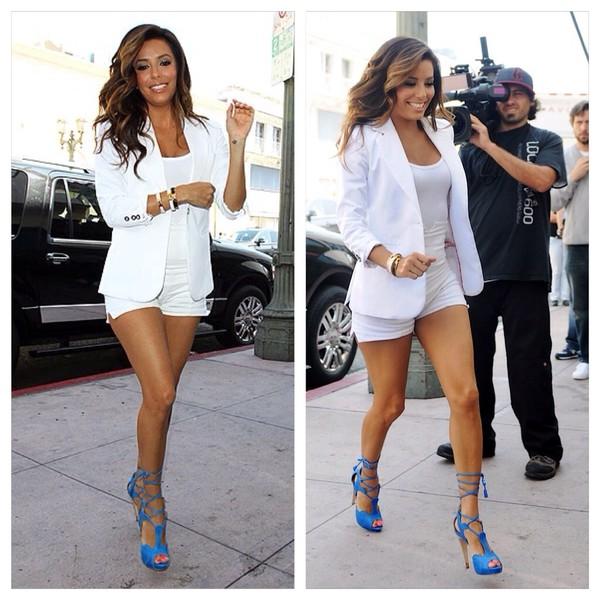 shoes eva longoria blue lace up heels jacket shorts colorful all white everything
