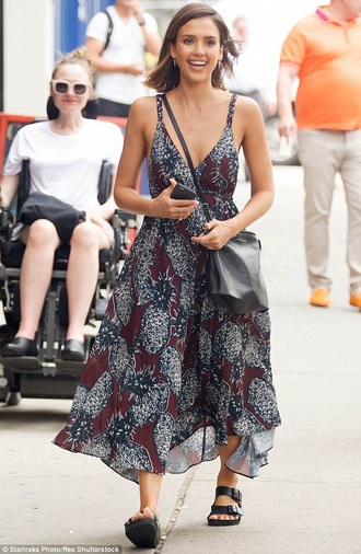 dress burgundy pineapple jessica alba new york midi dress summer dress summer outfits