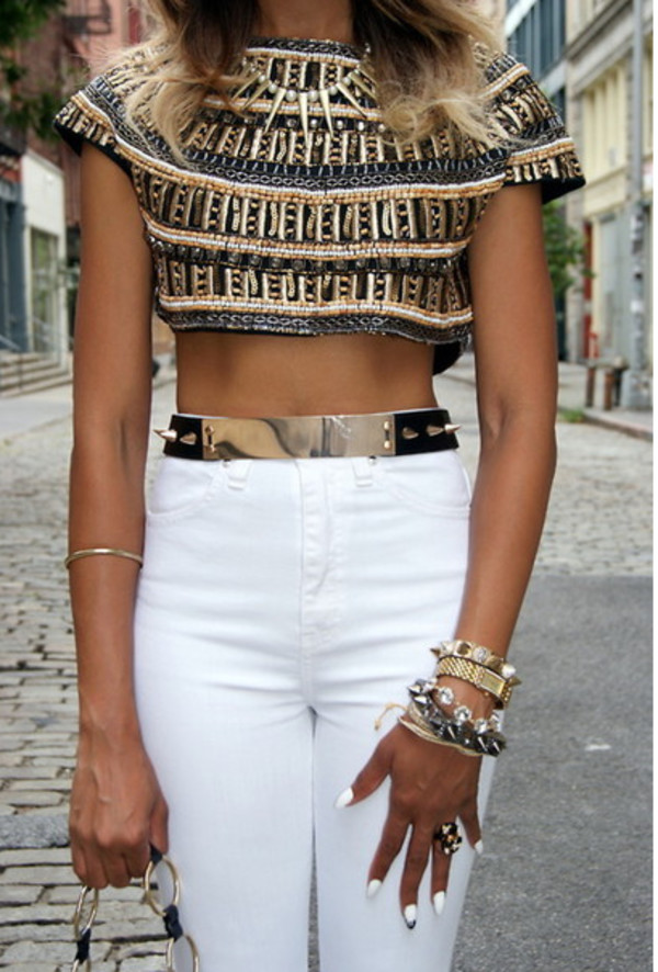 jeans top jewels belt