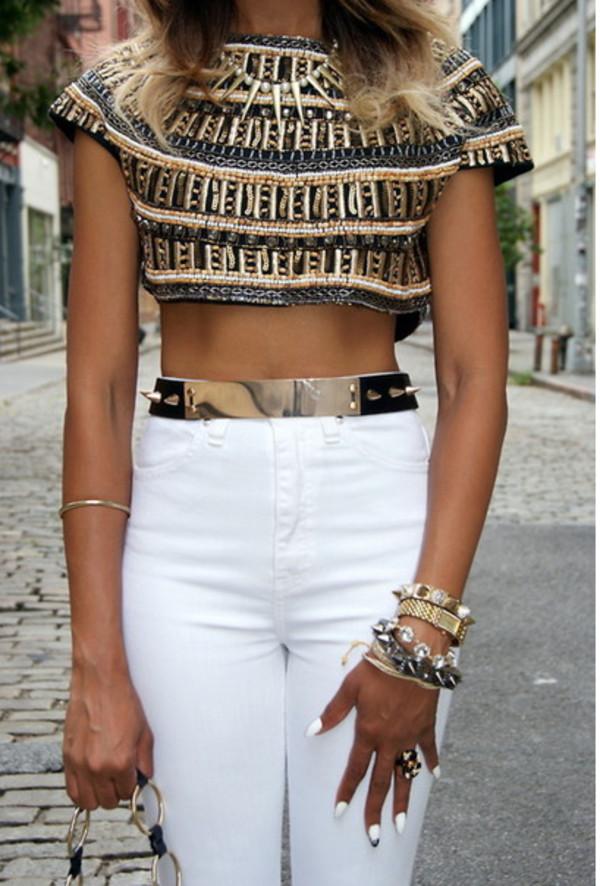 jeans top jewels belt