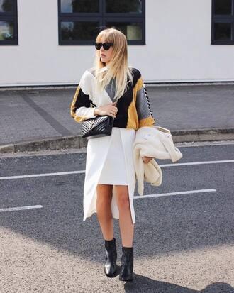 sweater skirt tumblr sunglasses white skirt asymmetrical asymmetrical skirt boots black boots bag