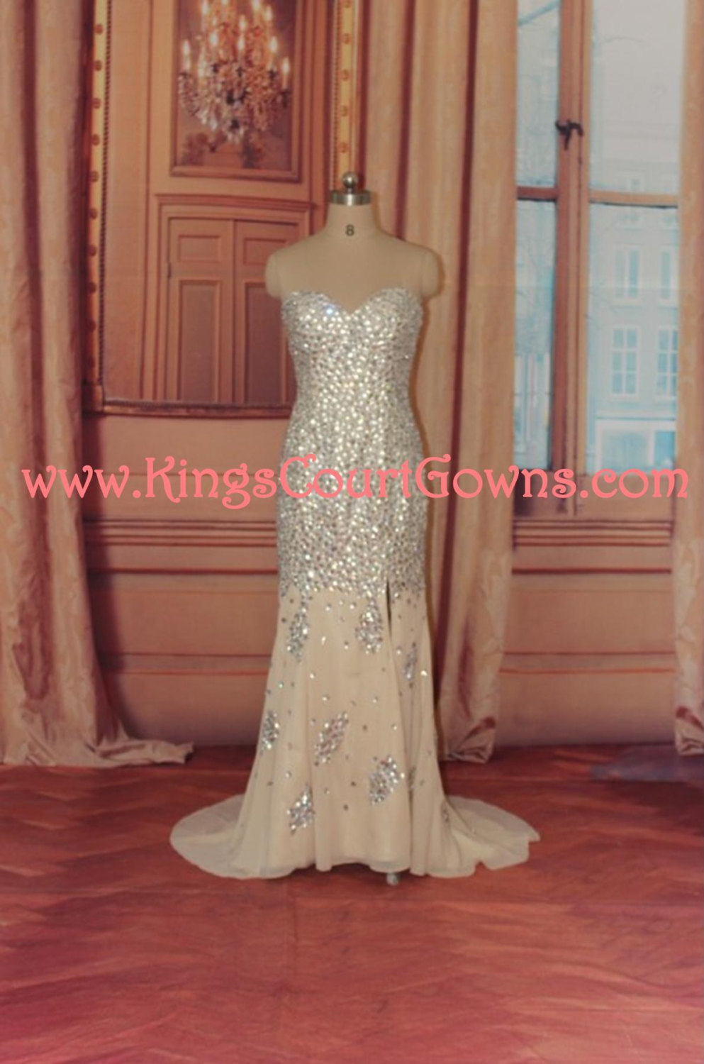 Replica beaded nude strapless trumpet chiffon prom evening pageant dress gown