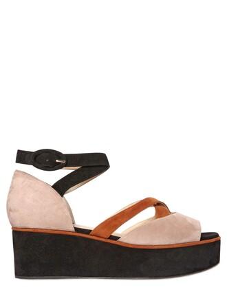 open sandals wedge sandals suede black beige shoes