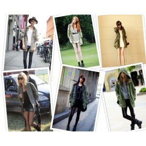 2012 autumn womens hoodie drawstring oversized army green military jacket coat