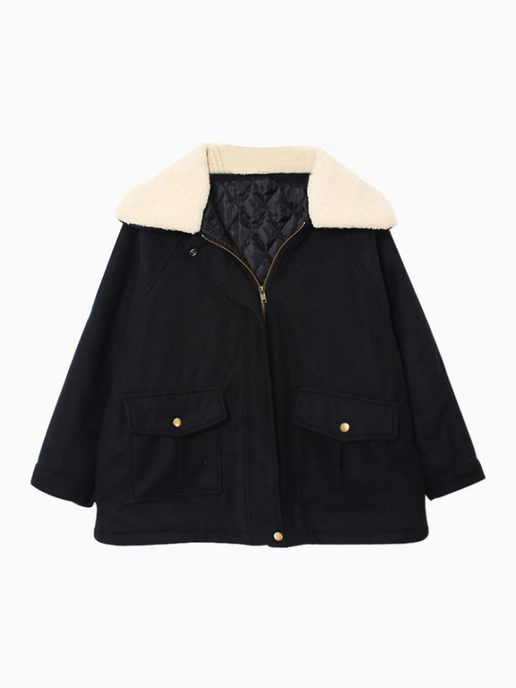 Shearling Lapel Woolen Coat In Black | Choies