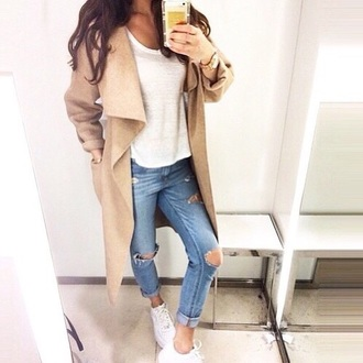 coat brown beige coat beige flowy waterfall jacket waterfall coat camel coat ripped jeans fall outfits white t-shirt camel cardigan everything jeans jacket boyfriend jeans