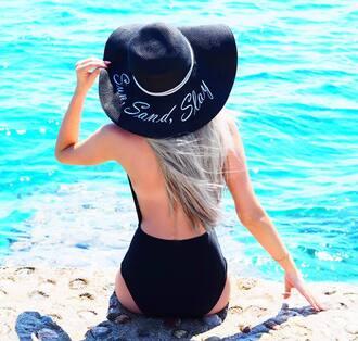 hat slay prettylittlething beach customized beach hat summer summer outfits summer holidays summer accessories floppy hat big hat sun hat summer 2017 sun sea swimwear one piece swimsuit black swimwear backless