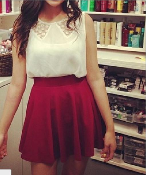 blouse bethany mota peter pan collar white top skirt