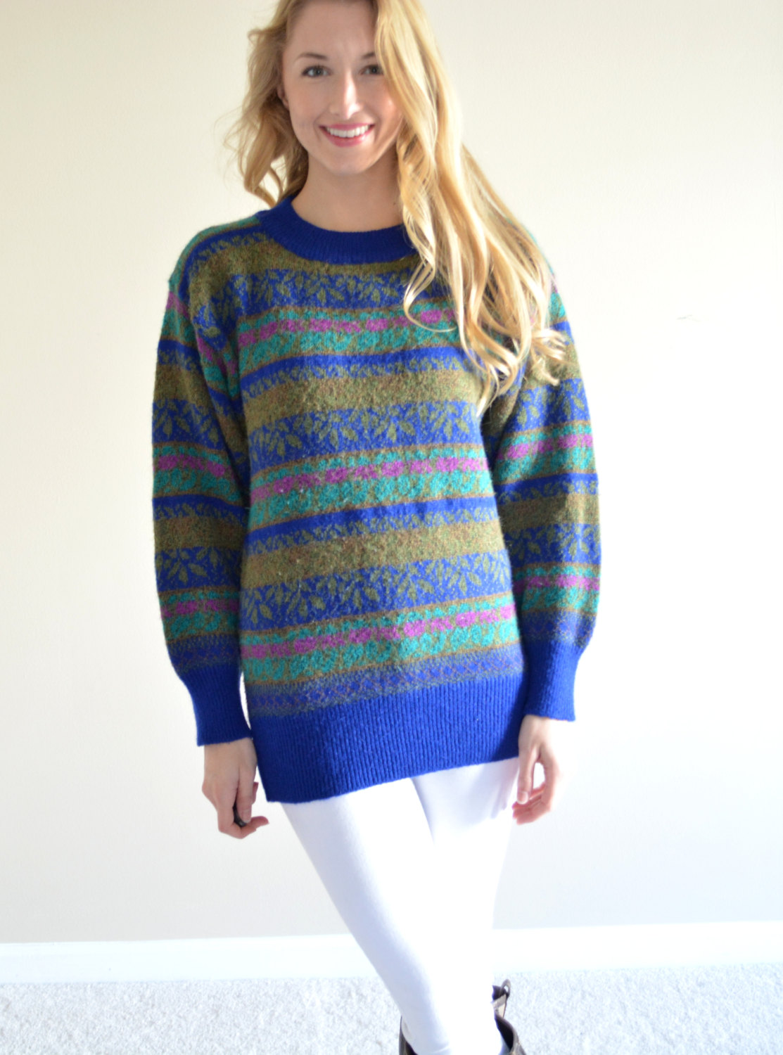 Sale sale vintage compagnie internationale limited express sweater beautiful striped royal blue patterned womens sweater colorful jumper sma