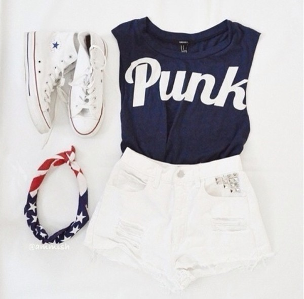 shorts white navy punk converse white converse white shorts studded shorts navy tank top crop tops american flag american headband cute outfits winter outfits winter outfits white and navy blue shirt shirt denim High waisted shorts high waisted denim shorts high top converse high tops jewels blouse