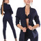 Trendy women's dark blue stretch blazer and high waisted skinny pants suit