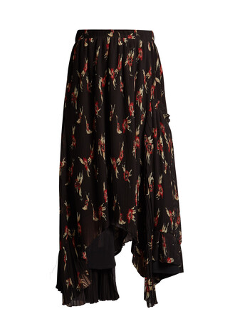skirt pleated skirt pleated floral print black red