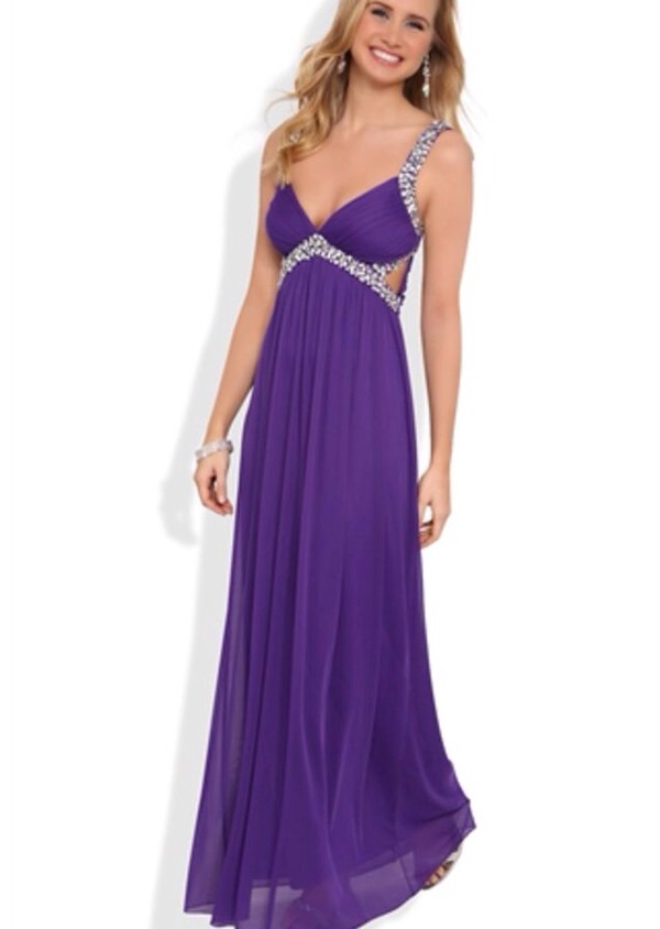 Long Prom Dress with Stone Straps and Waist with Side Cutouts ...