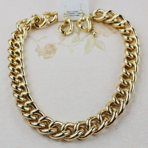 Gold Link Necklace Earrings Jewellery Set | eBay