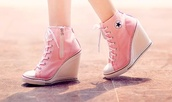 shoes,converse high heel,converse heels,converse,wedge sneakers,pink sneakers,pink,wedges,all star,converse wedges,girl,chuck taylor all stars,stars,high heels,pumps,cute,high tops,high top sneakers,high heel sneakers,allstars