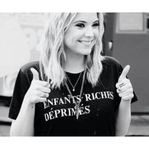t-shirt ashley benson black t-shirt pretty little liars jewels