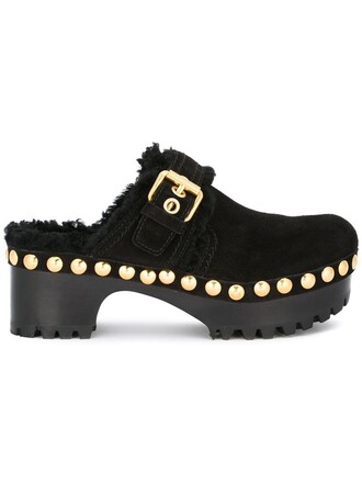 studded women mules leather black shoes