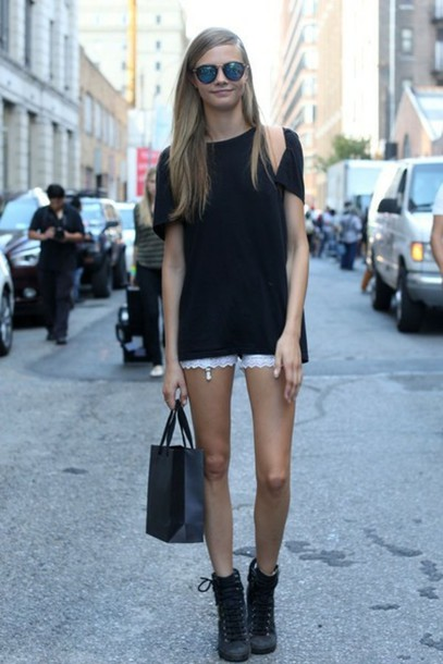 Lace white shorts tumblr indie lunalady hipster street street style