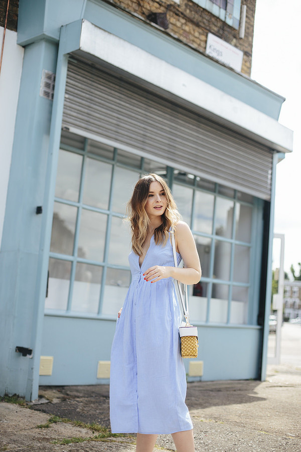 5a6914057579 what olivia did... blogger dress shoes bag jewels pocket dress blue dress v.