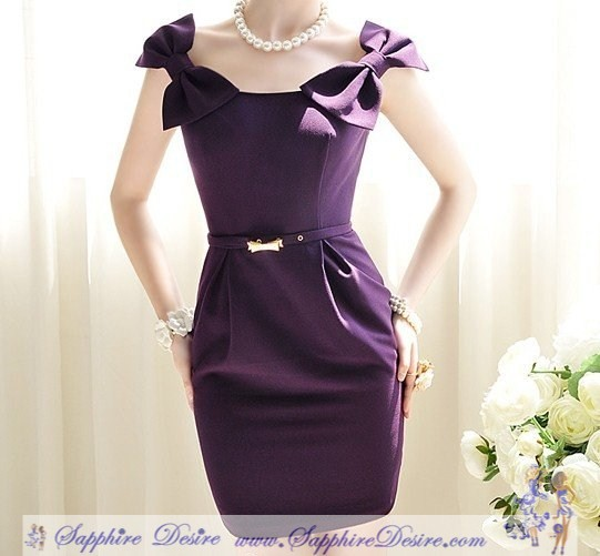 Newest Women bow slim sleeveless dress/lady noble purple slim dress S M L - Sapphire Desire