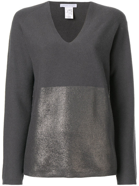 Fabiana Filippi - glitter detail jumper - women - Silk/Cashmere/Merino - 48, Grey, Silk/Cashmere/Merino