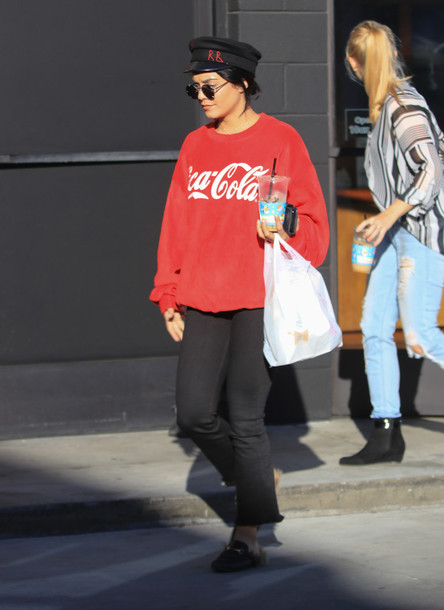 sweater red sweatshirt fall outfits streetstyle vanessa hudgens