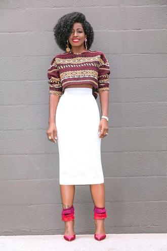 blogger top skirt shoes crop tops midi skirt pumps