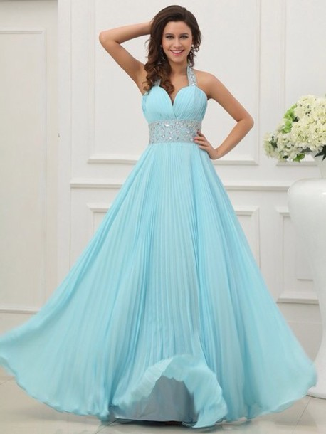 Dress Pastel Blue Blue Formal Dress Straps Long Floor Length