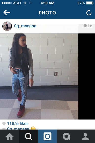 cute petite jacket timberlands 0g_manaaa red style distressed jeans high waisted jeans red timbs red timberlands