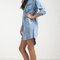 Denim pocket 3/4 sleeve shirt dress