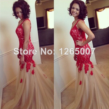 Red and Cream Lace Prom Dress – fashion dresses
