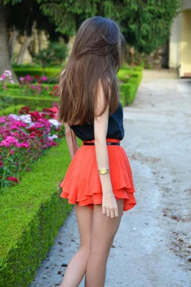 orange skirt dress black tank top skirt black outfit mini skirt red skirt red belt black belt orange watch tumblr orange summer skirt