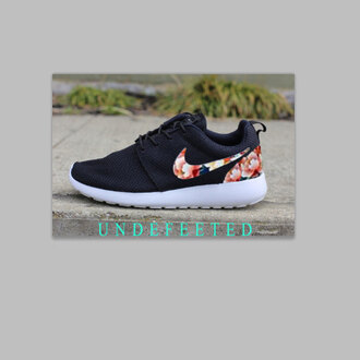 shoes nikes nike nike roshe run clothes trendy celebrities black roses flowers floral fabric print white soft soles kicks nike shoes roshe runs
