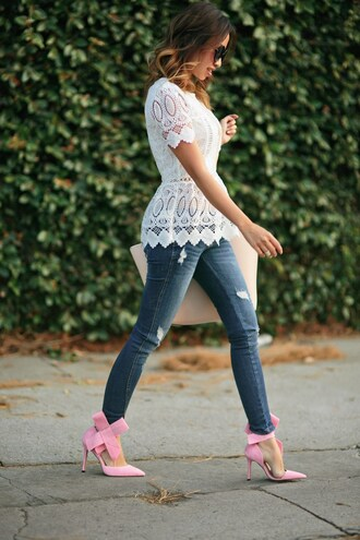 lace and locks blogger jeans bag jewels sunglasses pink heels ripped jeans skinny jeans white top white shirt white lace white lace top see through cut-out