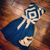 dress,navy,creme,cute dress,shoes,wedges,belt,cream,teal dress,navy & cream dress,short,sleeveless,slimming,classy,beige,chevron