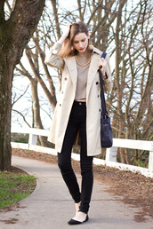 styling my life,blogger,coat,top,jeans,shoes,bag,jewels,zara,zara shoes,black flats,flats,black jeans,nude top,trench coat,cream trench coat,black bag,fall outfits