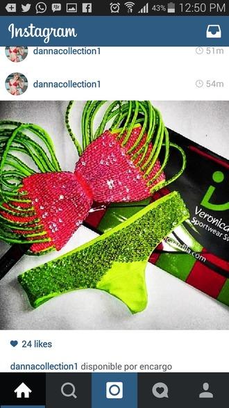 swimwear pink swimwear green swimwear string bikini sequins