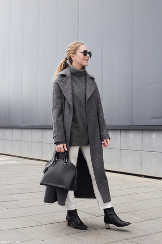 trini blogger sunglasses sweater jeans coat shoes bag fall outfits winter outfits grey coat handbag ankle boots