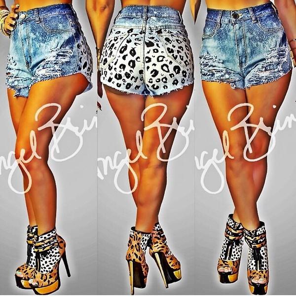 denim shorts leopard print shorts shorts High waisted shorts cheetah print shorts fashion