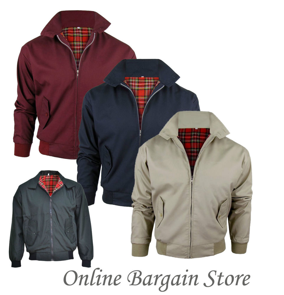 Mens classic harrington jacket retro mod bomber tartan lining 4 colors s