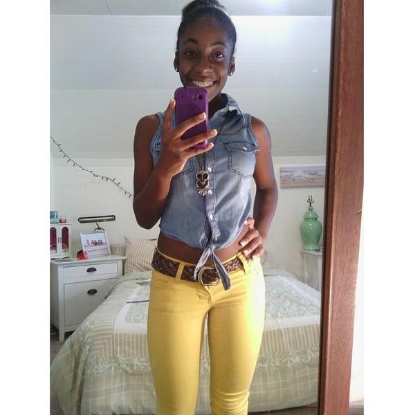 jeans owl necklace yellow jeans crop tops denim crop top belt shirt jewels
