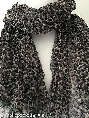 Leopard Print Scarf in Grey Beige and Black Animal Print Crinkle Scarf Ladies Wrap Shawl
