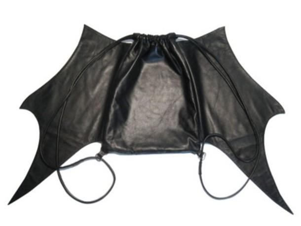 rucksack leather black wings bag