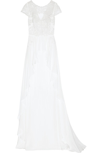 gown embroidered lace silk white dress