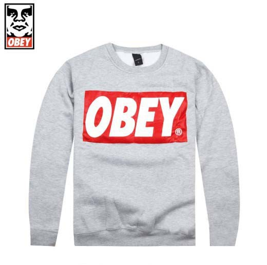 OBEY Sweatshirt Box Logo Long Sleeve Shirts Sweaters Grey SALE
