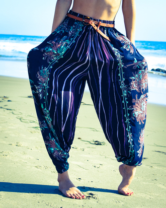 pants bodega high waisted waist low harem beach summer pattern boho chic bohemian floral pajamas 90s style lounge pants pajama pants