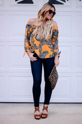 all dolled up blogger jewels sunglasses off the shoulder yellow top skinny jeans clutch animal print bag wedges summer outfits