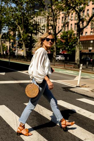 blouse tumblr white blouse bag round bag denim jeans light blue jeans sandals mid heel sandals shoes