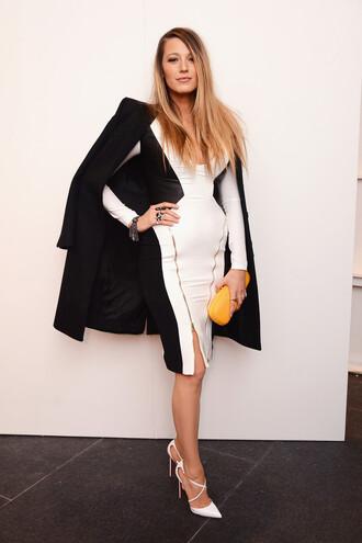 dress black and white blake lively pumps shoes fashion fashion week 2015